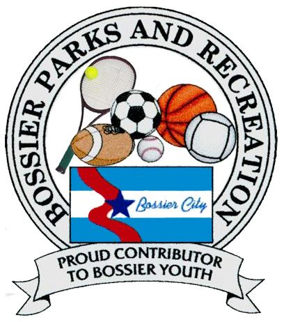 Bossier Parks and Recreation Logo with Sports Gear Around the Bossier City Flag